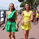 In Grün und Gelb leuchten die Swarovski-Schwestern Victoria und Paula in ihren Sommer-Minis an der Croisette besonders schön.