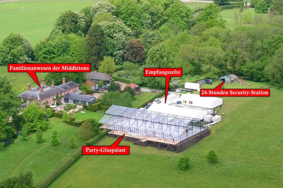 Auf dem Anwesen der Familie Middleton wurde ein ganze Party-Arena eingerichtet: Glaspavillon, Luxus-Toiletten und ein Sicherheitsdienst finden hier ihr Plätzchen.