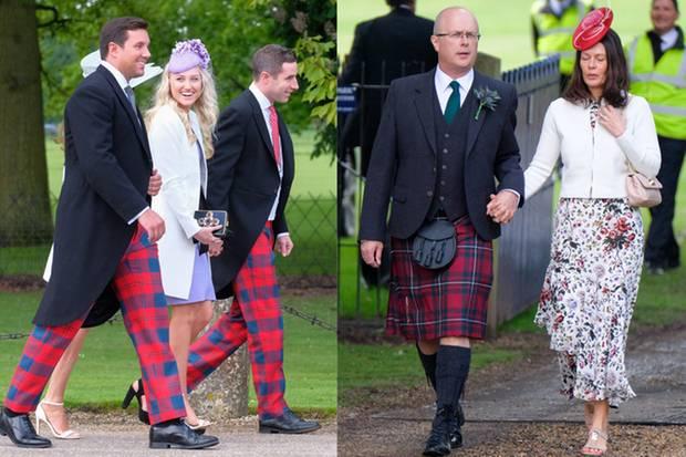 Diese Gäste haben das Motto der Hochzeit besonders ernst genommen und kommen in Karo und Kilt. Ob sie auch ein zweites Outfit in dem Stil dabei haben? Für die Party müssen sich alle nochmal umziehen.