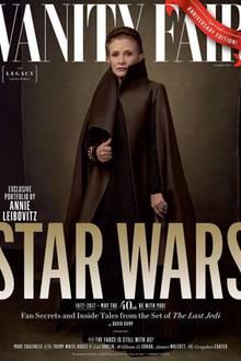"""23. Mai 2017  Laut der Zeitschrift """"Vanity Fair"""" ist der neueste """"Star Wars""""-Film einfach zu groß für ein Cover. Deshalb gibt es gleich vier verschiede Motive. Besonders hervorzuheben ist das Cover mit der verstorbenen Schauspielerin Carry Fischer (r. o.), die trotzdem im neuen Streifen zu sehen sein wird."""