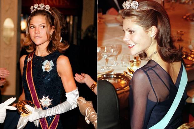 Kronprinzessin Victoria von Schweden am 22. November 1997 beim Innocence Ball in Stockholm und am 2. Dezember 1998 bei einem Empfang für den damaligen russischen Präsidenten Boris Jelzin im Königlichen Schloss.