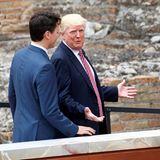 """26. Mai 2017  Seinem """"Nachbarn"""", dem kanadischen Premierminister Justin Trudeau, scheint Donald Trump bestens gelaunt die Welt zu erklären."""