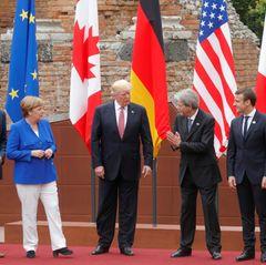 26. Mai 2017  Auf der italienischen Insel trifft Donald Trump im Rahmen des G7-Gipfels auf Justin Trudeau, Angela Merkel, Paolo Gentiloni, Emmanuel Macron und Shinzo Abe.