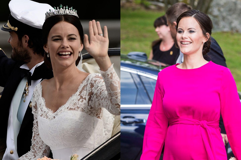 """Bei ihrer Hochzeit im Jahr 2015 (links) wirkten Sofias Zähne noch deutlich schiefer, als bei einem Auftritt anlässlich der """"Sophia Party"""" in Stockholm im Mai 2017."""