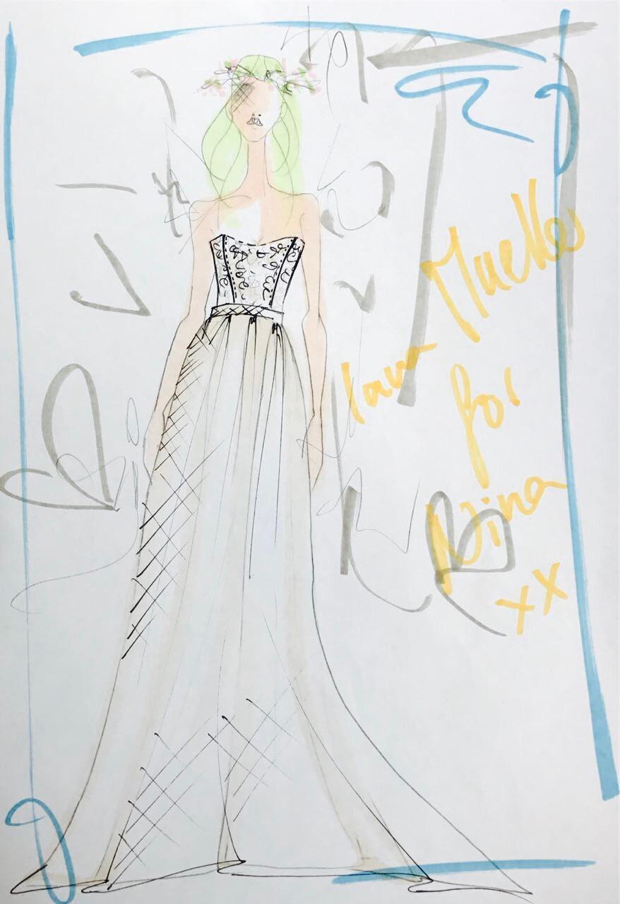 """""""Lana Mueller for Nina xx"""" heißt es auf einer Skizze des maßangefertigten Brautkleides."""