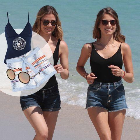 High-Waist-Shorts, Must-haves aus Bast plus Sommerbräune: Fertig für den Tag am Strand!