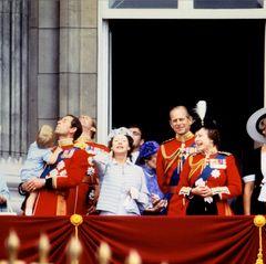 """Besonders angetan ist der kleine Prinz von dem Überflug der """"Royal Air Force""""-Ehrenstaffel. Dieser sogenannte Flypast ist alljährlich das große Finale der Parade. Zu sehen sind dabei neun Flieger, die am Himmel die Farben der Flagge als Kondensstreifen hinter sich herziehen."""