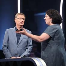 """Günther Jauch mit Quiz-Kandidatin Carla Schaudt """"500""""-Studio"""