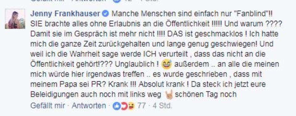 FB-Post von Jenny Frankhauser.
