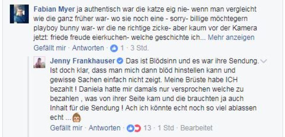 Jenny Frankhauser wehrt sich auf Facebook.