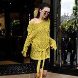 Huch, was ist das denn für ein merkwürdig plüschiger Pullover, den Kendall Jenner hier in einem edlen Pariser Restaurant ausführt?