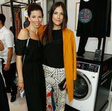 Bettina Zimmermann (mit Begleitung) ist ein gern gesehener Gast beim GALA Fashion Brunch. Die richtige Pflege der tollen Designermode übernimmt das Multitalent von AEG.