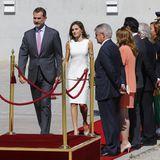 11. Juli 2017  König Felipe und Königin Letizia machen sich auf den Weg nach Großbritannien. Am Airport in Madrid wird dafür eine Abschiedszeremonie veranstaltet und der rote Teppich ausgerollt.
