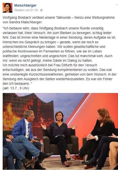 Facebook-Posting von Sandra Maischberger.