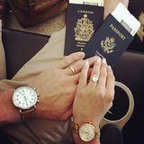 """Was für ein hübscher Klunker! """"Dancing with the Stars""""-Jurorin Julianne Hough zeigt auf Instagram, wenige Tage nach ihrer Hochzeit mit Brooks Laich, ihren dezenten Ehering, der mit ihrem traumhaften Verlobungsring eine tolle Kombination bildet."""