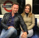 Geri Horner und ihr Ehemann, der Formel-1-Manager Christian Horner, sind ganz bodenständig in der U-Bahn unterwegs zum Formel-1-Rennen in Silverstone.