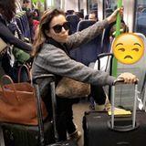 Eva Longoria ist nach einer Reise zurück in den USA und hat Mühe und Not ihr gesamtes Gepäck sicher in der Bahn zu verstauen.