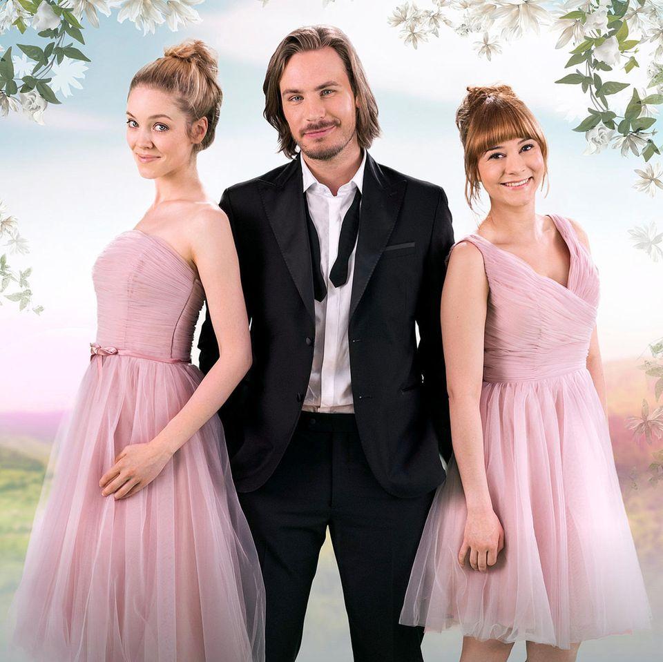 """Ella Kessler (l.) und Rebecca Herz (r.) kämpfen in """"Sturm der Liebe"""" um das Herz von William Newcombe (Alexander Milz)"""