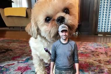 """""""Achtung Jason!"""", postet Schauspielerin Olivia Wilde. Dank Bildbearbeitung schrumpfte sie Ehemann Jason Sudeikis und platzierte ihn vor ihren Hund Maxamillion. Doch auch als vermeintlicher Riese ist das Hündchen einfach zu knuffig."""