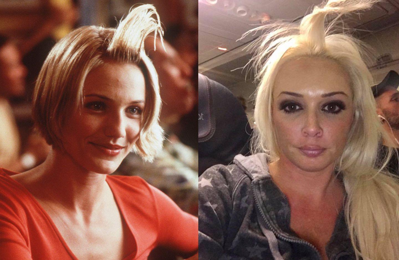 """Mit ihren lustigen, in die Höhe stehenden Haaren erinnert Daniela Katzenberger an die Kultblondine """"Mary"""" (Cameron Diaz) aus der Komödie """"Verrückt nach Mary"""". Wir sind allerdings guter Dinge, dass Frau Katzenberger nicht dasselbe """"Haargel"""" benutzt hat."""