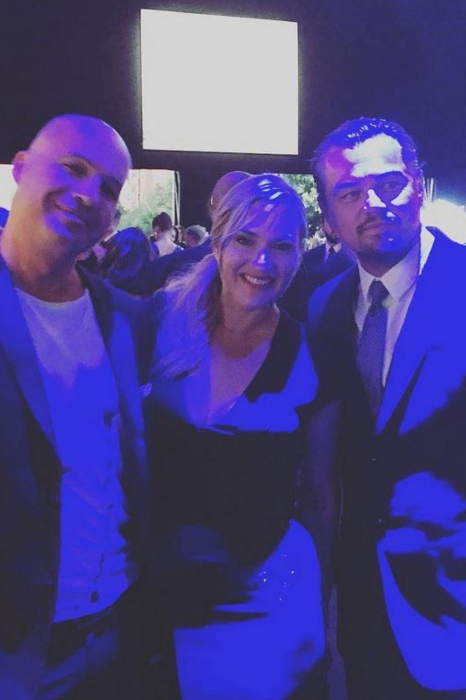 """26. Juli 2017   Titanic-Stars unter sich: Billy Zane, Kate Winslet und Leonardo DiCaprio bei der """"Leonardo DiCaprio Foundation""""-Gala."""