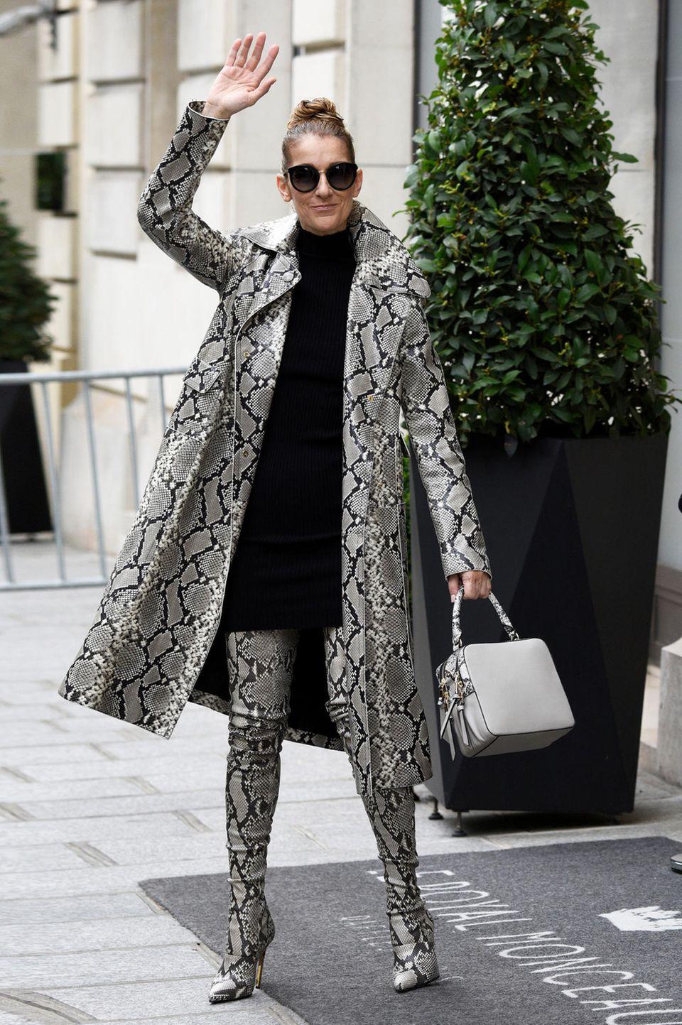 Ein komplettes Outfit im Snakesskin-Look von Balmain können nicht alle tragen sowie Stil-Ikone Celine Dion. Und erst recht können sich dieses Outfit nicht alle leisten, denn allein die Overknees-Boots kosten 6.395 US-Dollar, umgerechnet ca. 5460 Euro.