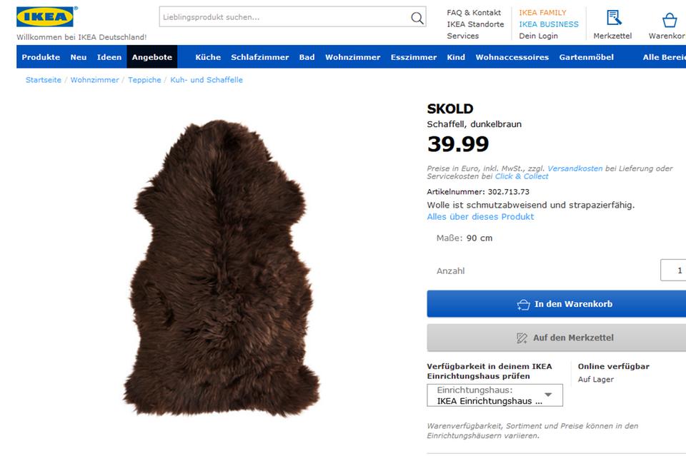 """Das Ikea-Schaffell, das jetzt im Netz durch """"Game of Thrones"""" Furore macht, gibt es für 39,99 Euro."""