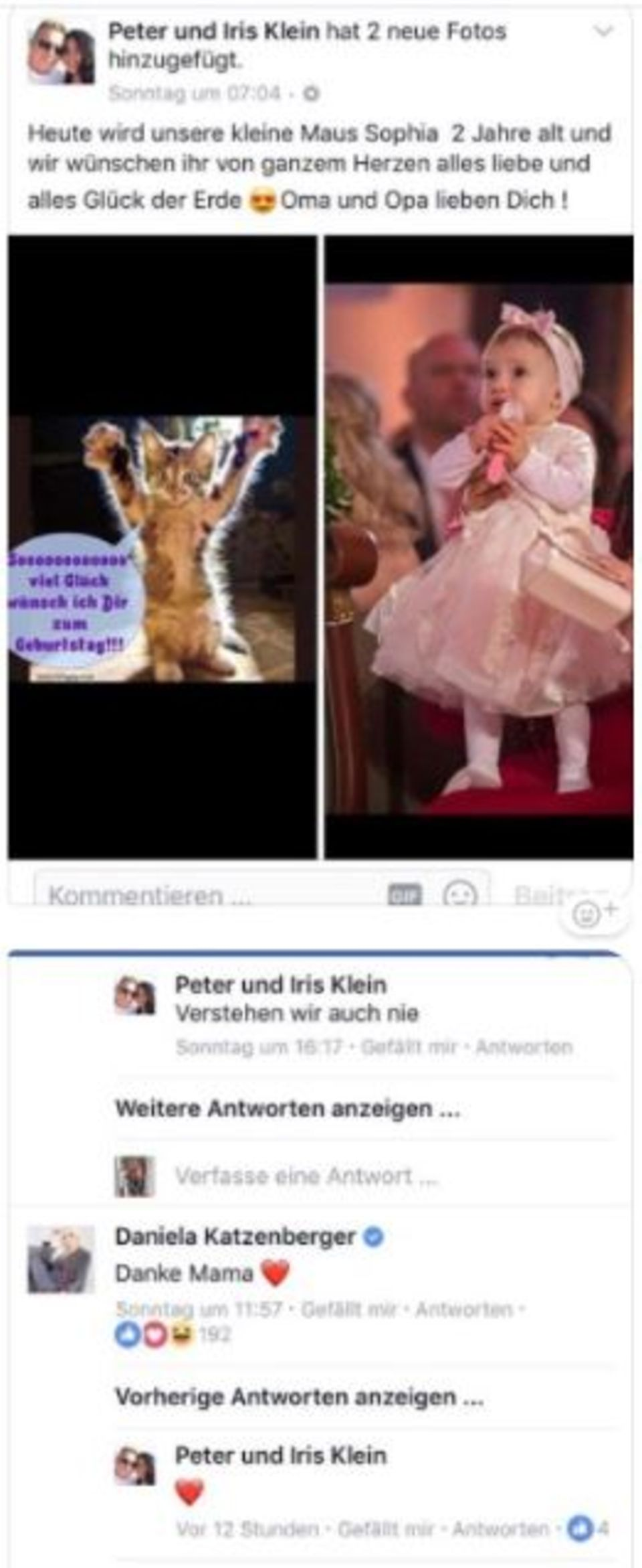 Facebook-Nachricht von Iris Klein
