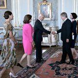 24. August 2017  Prinzessin Victoria, Königin Silvia und König Carl Gustaf empfangen Finnlands PräsidentenSauli Niinistö und seine Ehefrau Jenni Haukio zum Mittagessen im schwedischen Schloss.