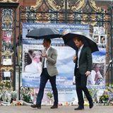 30. August 2017   Prinz William und Prinz Harry gedenken ihrer verstorbenen Mutter: Im ihr zu Ehren errichteten weißen Garten besichtigen sie die für Lady Diana abgelegten Blumensträuße und Plakate; Wie einst vor 20 Jahren auch...