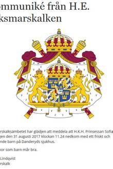 31. August 2017  Endlich teilt das schwedische Königshaus die langersehnte Nachricht: Das Baby von Prinzessin Sofia und Prinz Carl Philip ist da. Geschlecht und Namen des am 31. August geborenen Nachwuchses werden noch nicht verraten.