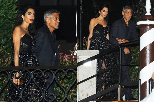 Amal und George Clooney wirken beim Verlassen ihres Hotels in Venedig wie frisch verliebt. Eingehakt und Händchen haltend zeigen sich die frischgebackenen Zwillingseltern mit einem Lächeln auf den Lippen.