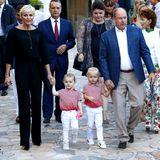 """1. September 2017  Beim """"Pique Nique Monegasque"""" in Monaco stehlen Prinzessin Gabriella und PrinzJacques ihren Eltern Fürstin Charlène und Fürst Albert in niedlichen Outfits die Show."""