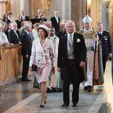 4. September 2017  Dankgottesdienst für Prinz Gabriel Carl Walther: In Stockholm nehmen Königin Silvia und König Carl Gustaf am Te Deum in der Schlosskirche teil.