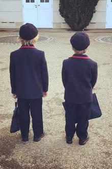 Elijah und Zachary, die Söhne von Elton John und David Furnish, sind bereit für den Schulalltag.