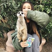 Sängerin Ariana Grande ist sprachlos: Wer hat denn bitte schon Mal ein Erdmännchen auf seinem Arm Männchen manchen sehen?