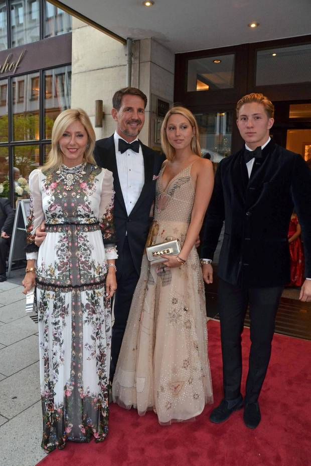 Prinz Pavlos, Prinzessin Marie-Chantal und ihre Kinder Prinzessin Maria-Olympia und Prinz Konstantine-Alexios sind im Juli 2017 bei der Prinzenhochzeit in Hannover. Sie sind Gäste von Ernst August von Hannover und seiner Braut Ekaterina Malysheva.