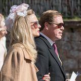 Prinzessin Vanessa zu Sayn-Wittgenstein-Berleburg und Pieter Haitsma Mulier bei der Hochzeit von Erbprinz Ferdinand zu Leiningen und Viktoria Luise Prinzessin von Preussen in der Fürstlichen Abteikirche.
