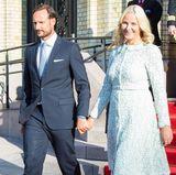 18. September 2017  Prinz Haakon und Prinzessin Mette-Marit kommen Hand in Hand zu der Enthüllung des Geschenks des Storting (Parlament) zum 80. Geburtstag von König Harald und Königin Sonja in Oslo.