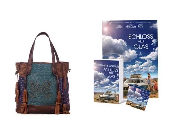 """Unser tolles Gewinnpaket: Tasche """"Zelda"""" von Anokhi (www.anokhi-collection.com), Taschenbuch, Filmplakat und zwei Kinotickets von """"Schloss aus Glas"""""""