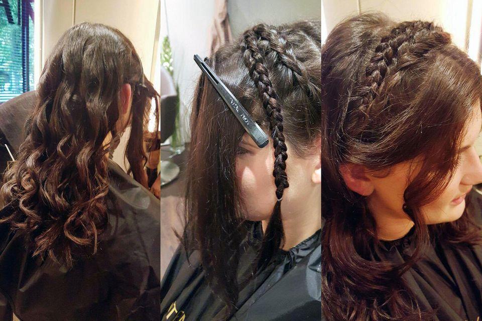 In 3 Schritten zur perfekten Wiesn-Frisur: (v.l.n.r.) Erst werden die vorderen Haare abgesteckt und die hinteren Haare mit einem Lockenstab gelockt. Vorne werden zwei Zöpfe von den Seiten über den Kopf geflochten und festgesteckt, dann werden auch die vorderen Strähnen leicht gelockt.