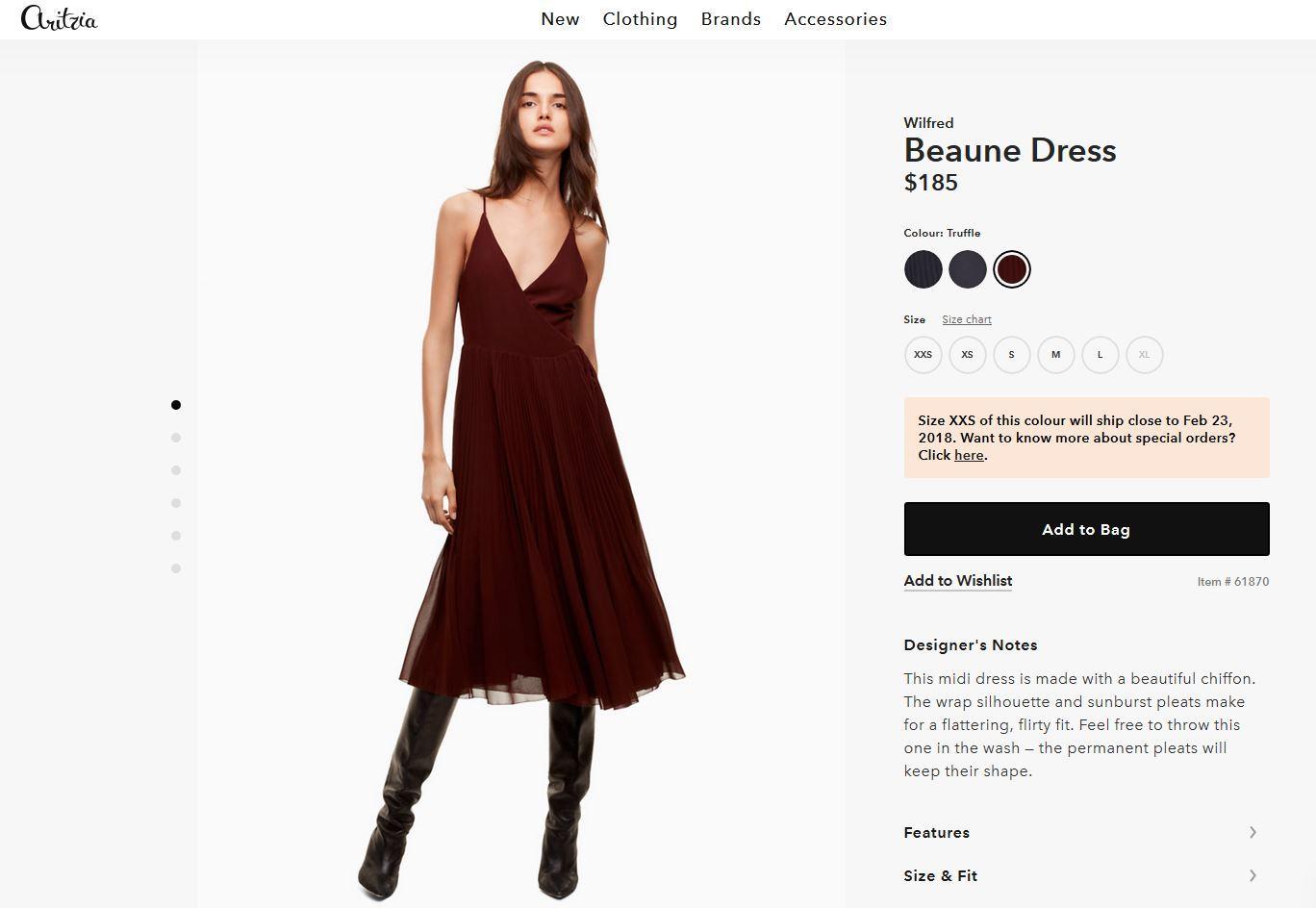 """Das Kleid """"Beaune"""" von Wilfred ist für umgerechnet knapp 160 Euro zu haben und wird in drei Farbvarianten produziert."""