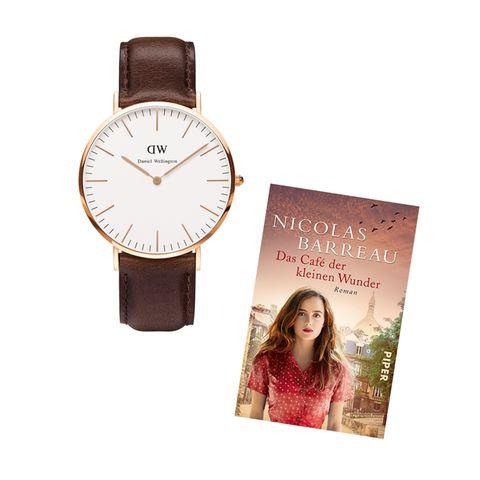 """Wir verlosen drei Pakete mit je einer Uhr von Daniel Wellington und dem neuen Roman """"Das Café der kleinen Wunder"""" von Nicolas Barreau"""