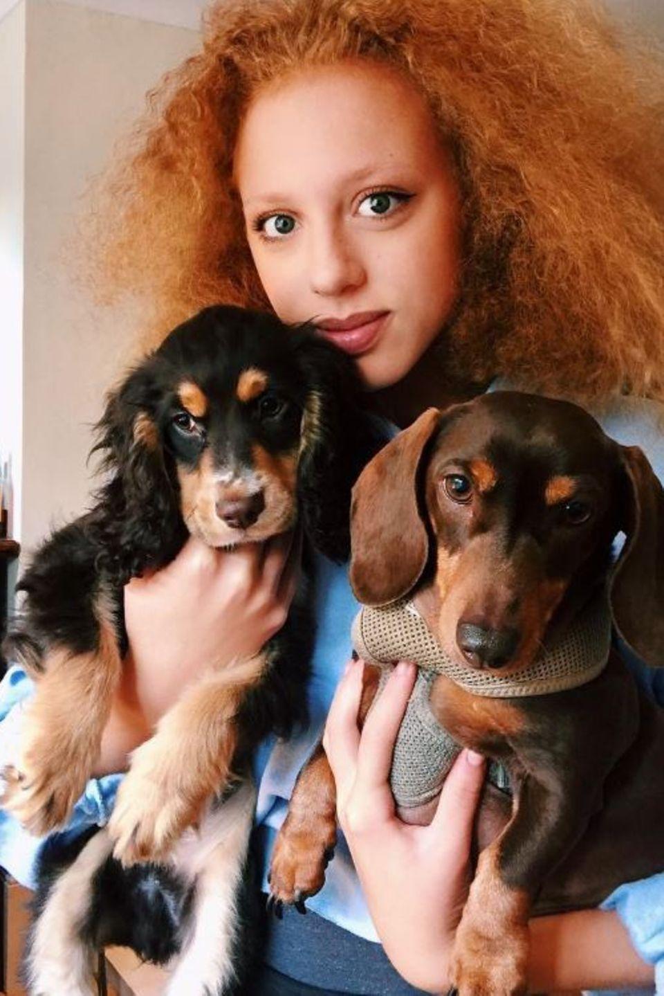 """""""Stolze Patentante"""", postet Anna Ermakova. Gemeint sind damit wohl die süßen Vierbeiner, die das Model auf dem Foto vorstellt. Die Tochter von Boris Becker hat die Hunde bereits tief ins Herz geschlossen, wie das Bild zeigt."""
