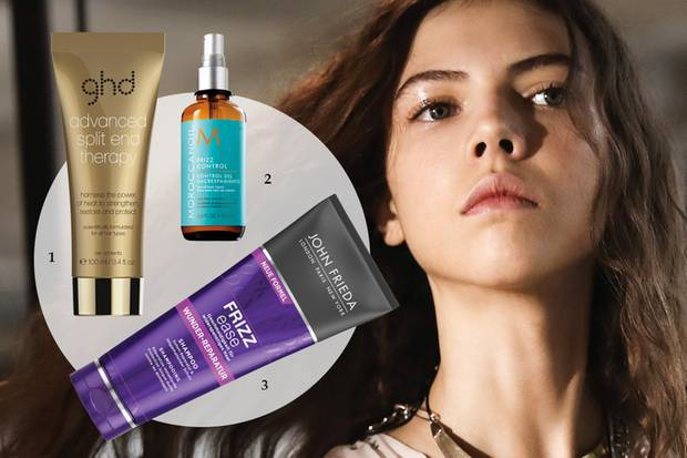 "1. ""Advanced Split End Therapy"" von Ghd, 100 ml, ca. 25 Euro; 2. ""Frizz Control Spray"" von Moroccanoil, 50 ml, ca. 16 Euro; 3. ""Frizz Ease Wunder Reparatur Shampoo"" von John Frieda, 250 ml, ca. 12 Euro"