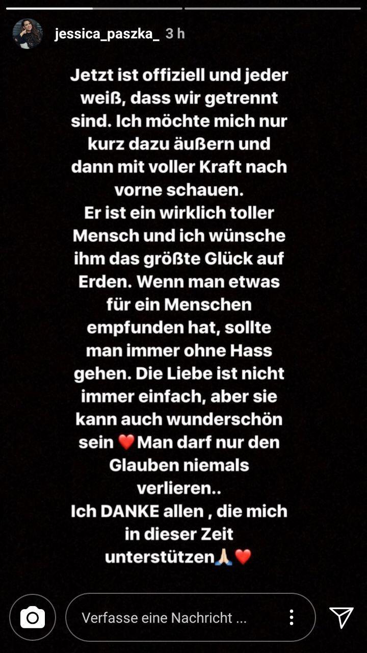Mit diesen Zeilen bestätigt Jessica Paszka via Instagram die Trennung von David Friedrich