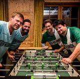 Christian Witt (Breuninger), Marcello Concilio (Ernsting's Family), Simon Hoecker (Gerry Weber) und Jan Spielhagen (Beef!) kickern um den Sieg.