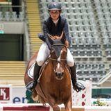 Einen Tag vorher lief es noch für Prinzessin Märtha Louise und ihr Pferd Carsall. Sie erreichten den dritten Platz in einer Springprüfung.