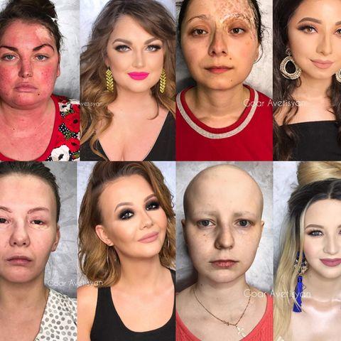 Vorher-Nachher-Effekt der Make-up Transformationen