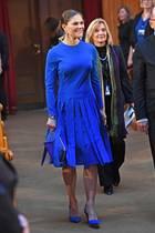 Diese Farbe ist für Prinzessin Victoria als königliche Hochkaräterin wirklich angemessen: Royalblau! Richtig spannend wird der Look aber erst durch den raffinierten Fransen-Rock. Sie ist in diesem leuchtenden Outfit mit passender Clutch von Stella McCartney beim Besuch eines Seminar anlässlich des 100. Jubiläum von Finnlands Unabhängigkeit wirklich nicht zu übersehen.